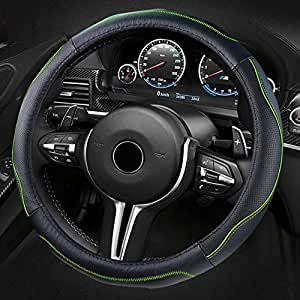 ECLEAR Car Steering Wheel Cover Genuine Leather Black/&Blue Universal 15 inch//38CM Breathable Anti-slip Protector for Auto//Truck//SUV//Van