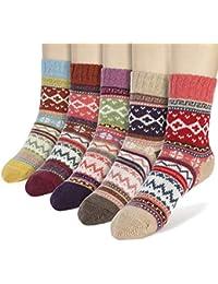 AYPOW Calcetines de algodón de Punto, 5 Pares para Mujer de Invierno cálido y Suave