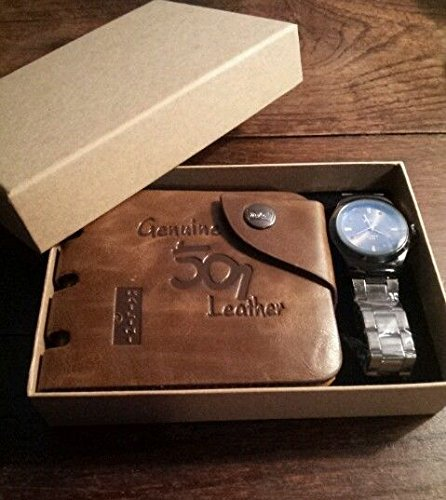 MENS LUXURY BOX SET GENUINE LEATHER BI FOLD WALLET AND STYLISH WRIST WATCH BY VALEN BOX SET