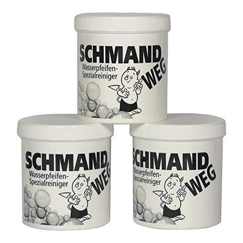 Schmand WEG - Limpiador de Cristales 3 Botes, 150 g Cada uno, Limpieza Especial de cachimbas, 450 g...