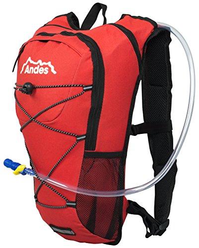 Andes - Trinkrucksack mit 2 Liter Trinkblase - Zum Laufen/Radfahren - Rot