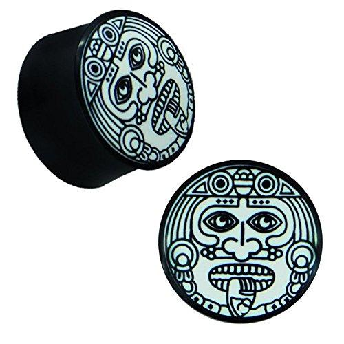 Plug Horn weiße Gravur schwarz Tribal Stammes Maske Zunge König Piercing 22 mm