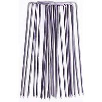 GardenPrime Grapas Metálicas alambre de acero 150mm 2.8mm para sujetar tela antihierbas, mallas, lana, aislantes, telas de jardinería y láminas de polietileno (100, Acero)