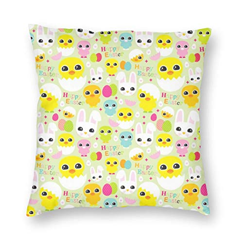 sexy world Happy Easter Chicken and Bunny Pattern Decorative Square Throw Pillow Case Cushion Cover Set for Sofa Bedroom Car 16 X 16 Bunny Sexy Velvet
