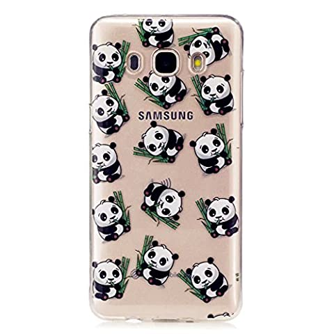 Samsung Galaxy J5 (2016) SM-J510F Case, MUTOUREN Transparent Soft Gel TPU Clear Silicone Cover Bumper with Lovely Panda Pattern, [Scratch-Proof] [Precision Fit] Protective Back Shell for Samsung Galaxy J5 (2016) SM-J510F, Panda
