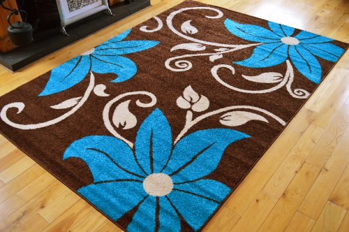 NEW BROWN BLUE CREAM FLOWERS SMALL MEDIUM EXTRA LARGE RUGS LIVING ROOM MATS HALL RUNNER CARPETS **(5 SIZES AVAILABLE FROM DROP DOWN BOX)** (190 X 280 CMS)