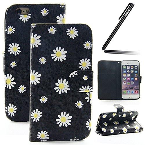 Ukayfe Custodia portafoglio / wallet / libro in pelle per Apple iphone 6 Plus /6S Plus (5.5 pollice ) - Cover elegante e di alta qualità con porta carte di credito e banconote Stampa creativa e cinghi felice Daisy
