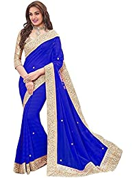 Vivan Trendz Women's Chiffon Saree With Blouse Piece(Priya_royalblue)