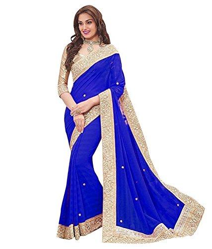 Vivan Trendz Chiffon Saree With Blouse Piece (Y Priya Skyblue_Royal Blue_Free Size)
