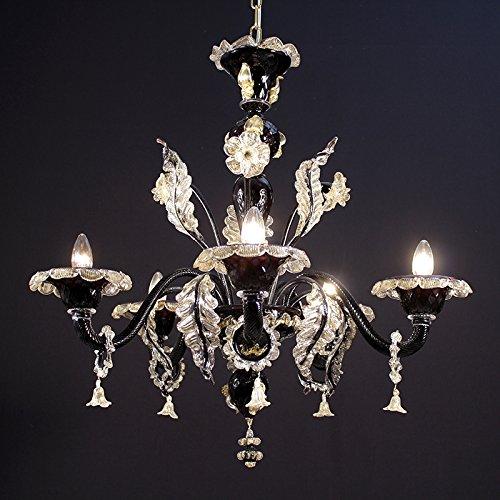 Pendelleuchte Murano GIUDECCA- 5-flammig - schwarz transparent im Feuerkristall 24K gold Deko GIUDECCA model - 5 lights - Black transparent in fire, gold 24K and crystal decoration - Black Fire Glas
