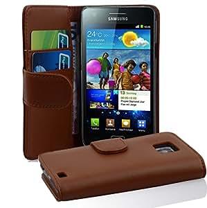 Cadorabo - Custodia Book Style Design Portafoglio per Samsung Galaxy S2 (I9100) con Vani di Carte - Etui Case Cover Involucro Bumper in MARRONE-CASTAGNO