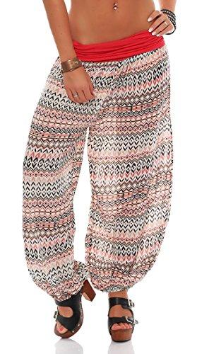 malito Damen Pumphose in vielen Farben und Mustern   Haremshose zum Tanzen   Aladinhose zum Chillen - Freizeithose 7194 (coral-Ethno)