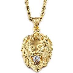 Idea Regalo - Yorwell, ciondolo da uomo a forma di testa di leone, in acciaio inox, collana con catena da 56 cm, placcato oro