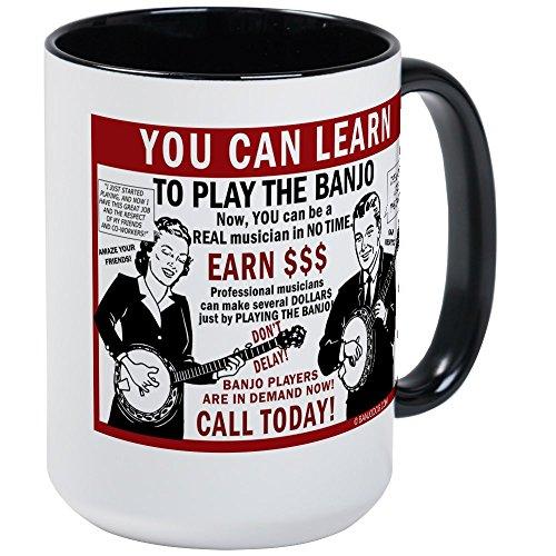 CafePress–Sie können lernen, zu spielen Banjo. Kaffee Tassen,–Kaffee Tasse, groß 15Oz Weiß Kaffee Tasse Large White/Black Inside