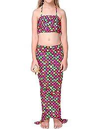 pepeng cola de sirena Bikini para Edad 4–10años niñas, juego de 3pcs Fancy swimmable Sea-maid disfraz para niños (Talla 140, rojo y verde)