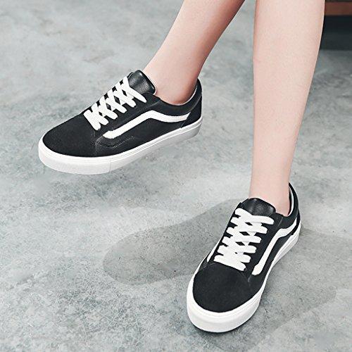 HWF Chaussures femme Chaussures blanches chaussures à semelle plate femme printemps chaussures de sport pour femmes ( Couleur : White green , taille : 35 ) Noir