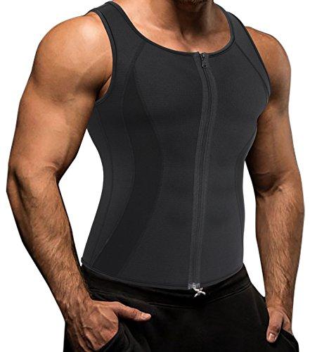 Neopren Sweat Sport Tank Top, Herren Korsett Weste Body Shapewear für Abnehmen (S(Fit 27.5-29.5 Inch Waist), Black(3-5 Days Delivery)) (Tank Twist-back)
