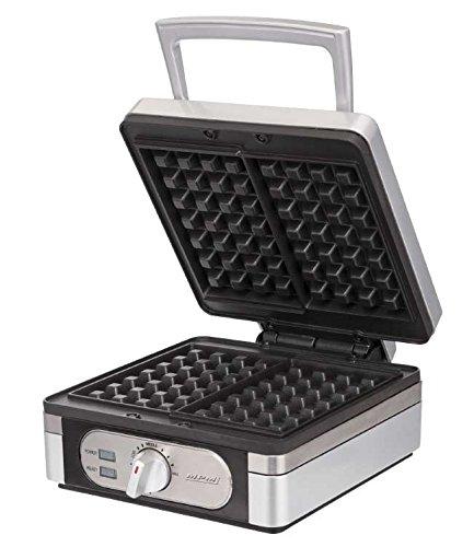 Appareil à gaufres MPM pour deux gaufres, revêtement anti-adhésif en téflon, 1400 Watts, thermostat avec contrôle de la température + pinceau à pâtisserie