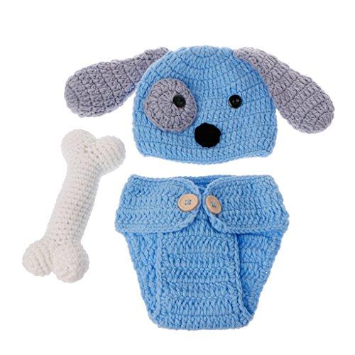 JunYe Baby Fotografie Requisiten, Born Fotografie Requisiten schöne Hund Kostüm Set Stricken Studio Fotografie (Baby Hund Kostüm)