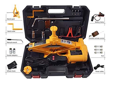 Cric elettrico con chiave per dadi, 12cm-45cm, portata 2 t, con telecomando...