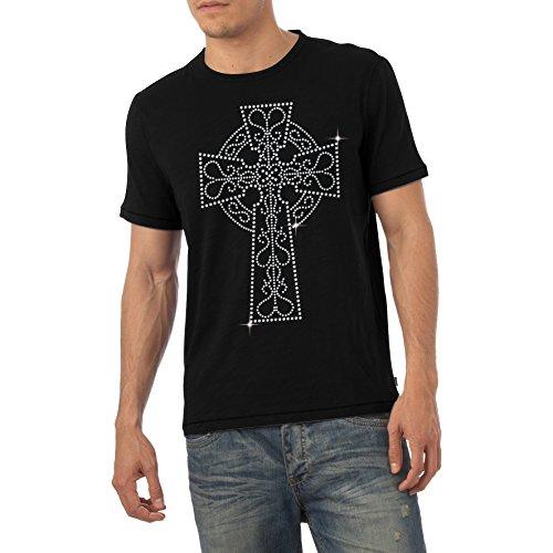 Mens Priory of Sion Cross Rhinestone Diamante Top T Shirt Herren Erwachsene Größen S-XL Schwarz