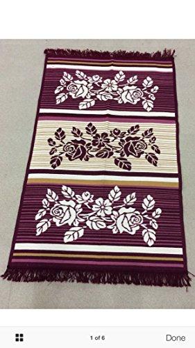 Egipcio Turco de Anatolia Kilim tejido alfombra mat rosa flores violeta 60x 90cm