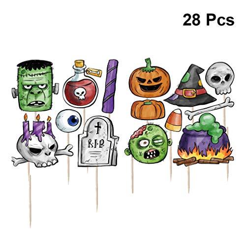 BESTOYARD 28 stücke Halloween Cupcake Topper kürbis Geist Kuchen Dekoration kucheneinsatz Dessert Karte für Kinder Halloween Party Supplies