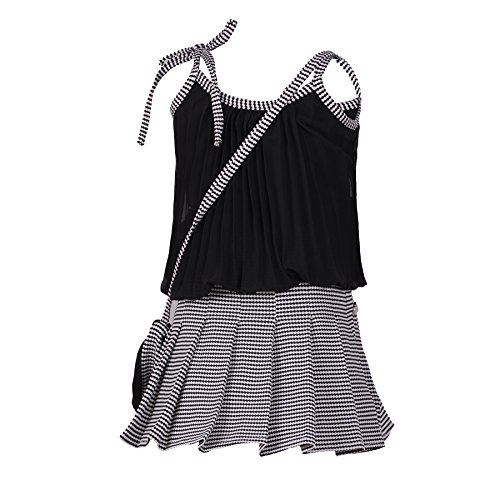 Aarika Girl's Self Design Top and Skirt Set (DR-703-BLACK_30_7-8 Years)
