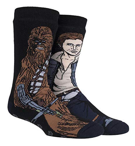 HEAT HOLDERS - Hombre Star Wars invierno calientes gruesos termicos calcetines antideslizantes (39/45, Han Solo/Chewbacca)