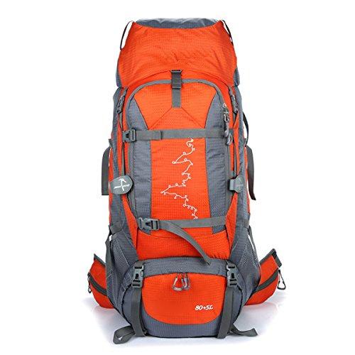 Rucksack Rucksack Wandern Outdoor 80L Reisen Lässige Daypack Hochleistungs-Taschen,Orange Orange