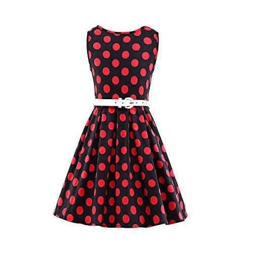 er Vintage Retro Tupfen Kleid Hepburn Stil Kleid Party Kleid,heidihongdai,100 (50er-jahre-mädchen)
