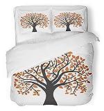 3 Stück Bettbezug-Set atmungsaktiv gebürstetem Mikrofaser-Stoff Orange Eiche Herbstbaum für Ihr Design Roter Ahorn fallen Silhouette abstraktes Blatt Bettwäsche Set mit 2 Kissenbezügen Full / Queen Si