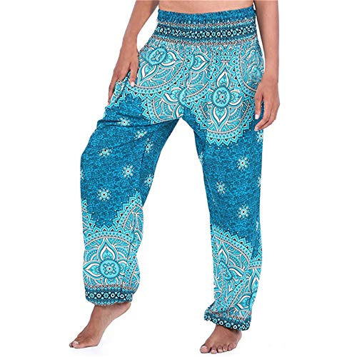 Loeay Damen Sporthose Vintage Boho Print Frauen Wide Leg Yoga Pants National Wind Lange Yoga Pants National Flower Pants Dance Bloomers Gr. One Size, hellblau - Leg Dance Pants