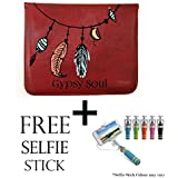 """Hamee Designer 11-Inch Tablet Sleeve Tan Brown Leather Tablet Case / Sleeve / Pouch For Samsung Galaxy Tab S2-T819 Tablet With Free Selfie Stick """" Gypsy Soul"""""""