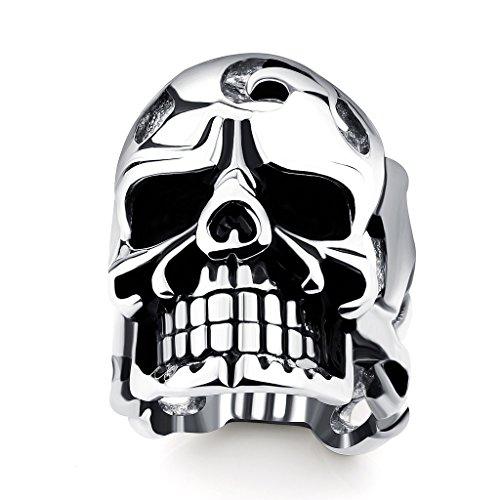 Herren Titan Stahl Skull Ring Stahl Farbe Punk Stil Finger Ringe Mode Schmuck Größe 11