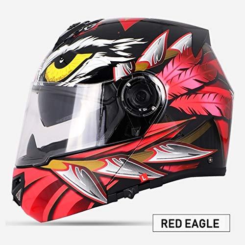 Berrd Nuovo Motociclo Motociclo Motociclo Casco fuoristrada Casco protettivo per casco, parapolvere, doppia lente ROSSO aquila L
