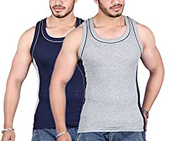 White Moon 999 Gym Vest - Pack of 2 (Gray_Blue_80)