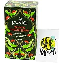 PUKKA - Tisana con Té Matcha, Té Verde Sencha y Ginseng Rojo Coreano - Enriquecido con Tulsi, Limón, Citronela - Descafeinado - Orgánico y Fairtrade - 20 Filtros Vegetal