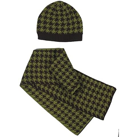 East Side Collection Oxford Houndstooth Hat and Scarf Owner Set, Brown/Green