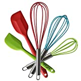 TTLIFE Stainless Steel Silicone Kitchen Utensils Cooking Set Heat Resistant Utensils Cookware 5-Pieces - 3 Silicone Whisk Set and 2 Silicone Spatula Set for Blending, Whisking, Beating & Stirring by TTLIFE