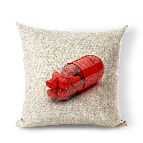 (starflowss in Herzform Ballon Schmetterling Baumwolle Leinen dekorativer Überwurf-Kissenbezug 40,6x 40,6cm, Baumwoll-Leinen, #3, 24x24)