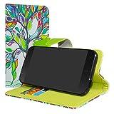LiuShan Vodafone Smart N8 Hülle, Brieftasche Handyhülle Schutzhülle PU Leder mit Kartenfächer und Standfunktion für Vodafone Smart N8 Smartphone (mit 4in1 Geschenk verpackt),Love Tree