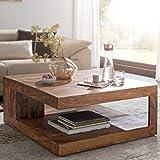 FineBuy Massiver Couchtisch PATAN 90 x 90 cm mit Ablage Sheesham Holz Massiv | Design Wohnzimmertisch Massivholz | Wohnzimmer Tisch Quadratisch
