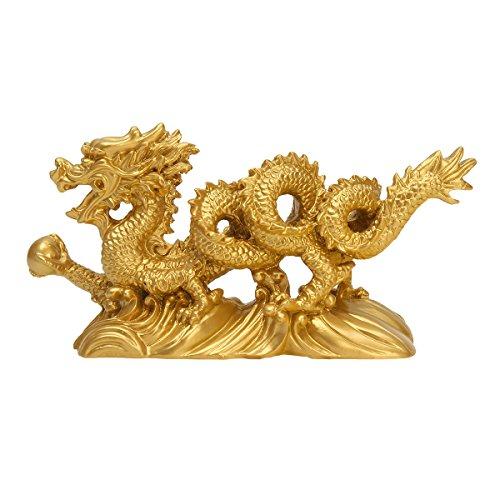 Chinesische Drachen (Jeteven chinesische gold 6-Zoll offenen Feng Shui Drache - statue und figuren und skulpturen und sammlerstücke für glück und erfolg Harz Nachahmung Kupfer Hanlong)