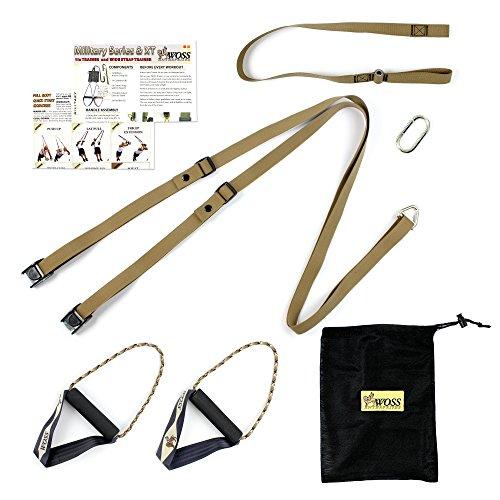 WOSS Military Strap Schlingentrainer, Braun, mit integriertem Türanker, Made in USA Sling Trainer