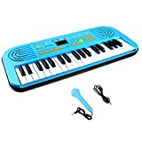 Keyboard Kinder mit Mikrofon, 37-Tasten Music Keyboard Spielzeug Elektronisches Klavier Mini-Keyboard Beginner-Keyboard für Kleinkinder, USB Kabel oder 4* AA Batteriebetrieb (Nicht Enthalten)