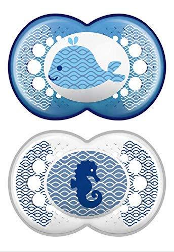 azul chupete MAM autoesterilizable 2 unidades chupete de l/átex con escudo ventilado Chupete ortod/óntico para una dentici/ón correcta 6+ meses MAM Original 6+