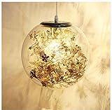 Nordic Sfera di Vetro Fiore - Lampada a Sospensione Luce di Soffitto Loft Droplight Illuminazione Della(C/Oro)