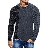 CICIYONER Tops für Männer, Mode Herren Herbst Winter zur Seite Fahren Gestrickt Raglan Patchwork Sweatshirt Bluse Oben