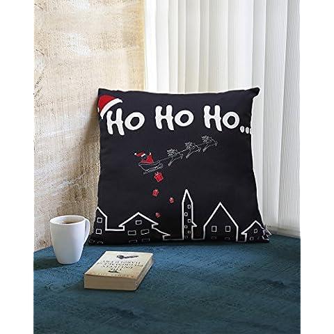 Regalos de Navidad 18 x 18 Conjunto de 2 100% Spun Poliester Cuadrado almohada almohadilla de tiro Cojines con cierre de cremallera y motivos de Navidad impresos para sofa de decoracion de hogar